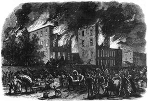 sketch of rioting in New York