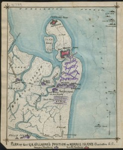 Civil War era map of battery Wagner