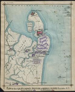 Civil War era map of battery Wagner
